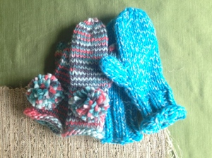 Left: Pom Pom Mittens Right: Mermaid Mittens