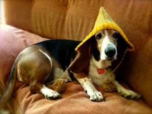 Molly modeling the fairy cap.