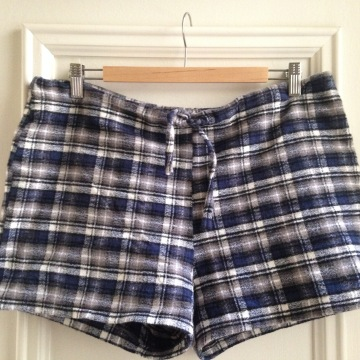 Flannel shorts made with revised pattern from Tilly and the Buttonn's Love at first stitch